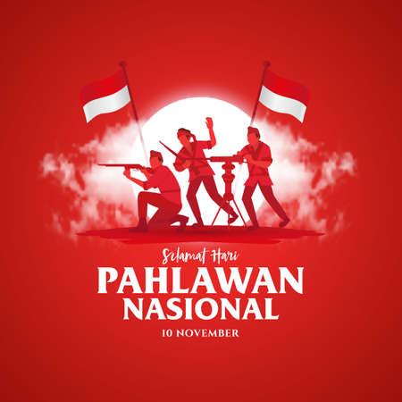 Selamat hari pahlawan nasional. Translation: Happy Indonesian National Heroes day. vector illustration for greeting card, poster and banner Vecteurs