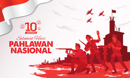 Selamat hari pahlawan nasional. Translation: Happy Indonesian National Heroes day. vector illustration for greeting card, poster and banner Çizim