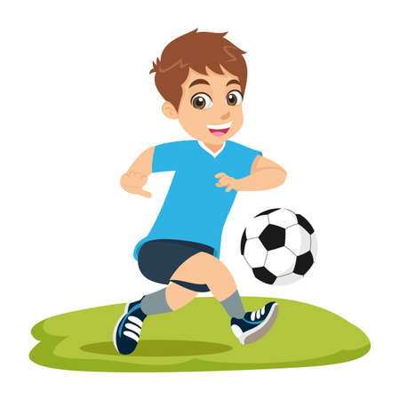 Cute cartoon little boy playing football or soccer isolated on white background