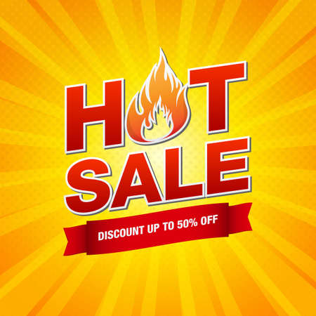 Hot Sale design template with burning fire flame vector illustration on yellow pop art background