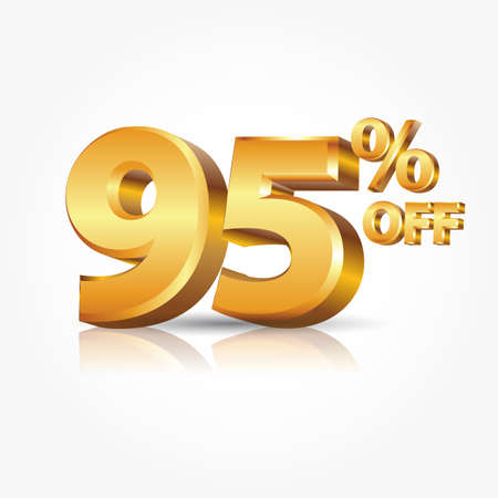 3d vector shiny gold 95 percent text with reflection isolated on white background. Vector illustration for promotion discount sale advertising