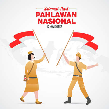 Selamat hari pahlawan nasional. Translation: Happy Indonesian National Heroes day. vector illustration for greeting card, poster and banner.