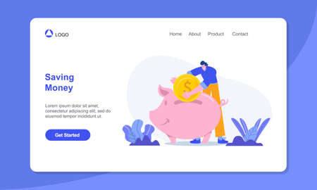 Money saving concept illustration. man saving money in piggy bank. suitable for web, banner, poster and landing page. Çizim