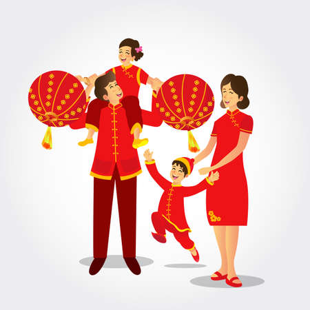 Vector illustration an chinese family wearing national costumes playing chinese lanterns celebrating chinese new year