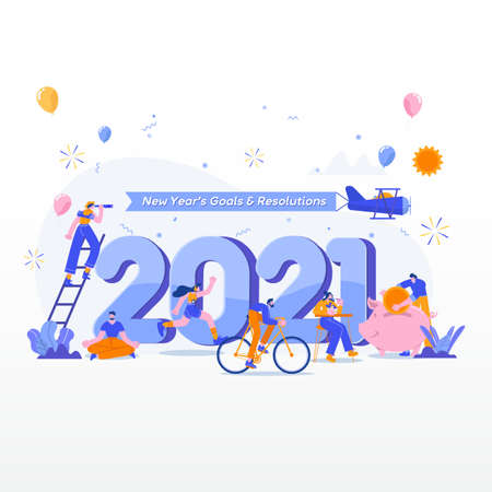 Happy new year 2021. Goals and resolutions 2021 concept illustration. tiny people having fun with their goals in 2021