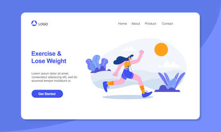 Healthy Lifestyle Landing Page Template. woman running in the park flat illustration.suitable for web, banner, poster and landing page