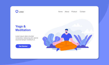 Yoga landing page. Man Meditating in Lotus Pose, Outdoors Yoga, Healthy Lifestyle, Relaxation Emotional Balance Çizim