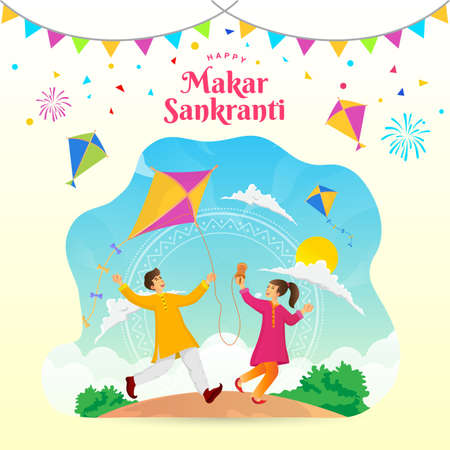 Happy Makar Sankranti greeting card. indian boy and girl playing kite celebrating Makar Sankranti festival Çizim