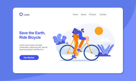 Healthy Lifestyle Landing Page Template. Businessman ride on bicycle to work.suitable for web, banner, poster and landing page.