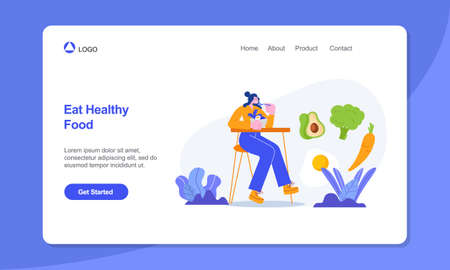 Healthy Lifestyle Landing Page Template. woman at the table eating healthy food. Vector illustration in flat style.