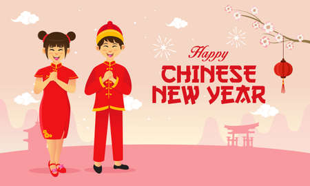 Happy chinese new year greeting card. chinese children wearing national costumes saluting chinese new year festival