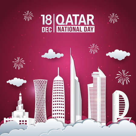 Vector illustration of 18th December Qatar national day celebration with city skyline, qatar flag and fireworks in paper cut style