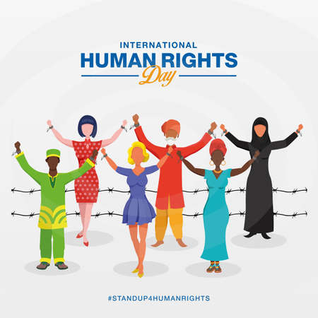 International human rights day background. peoples with different race raising hands and broken chains the symbol of freedom. Vecteurs