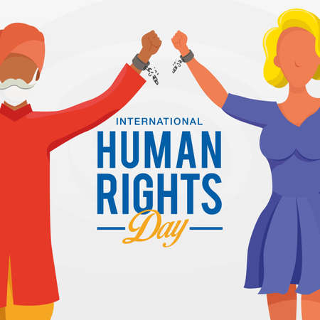 International human rights day background. peoples with different race raising hands and broken chains the symbol of freedom.