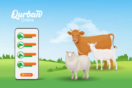 Online Qurban mobile application concept. Illustration of a smart phone with sacrificial animal for Eid al Adha Vector Illustration