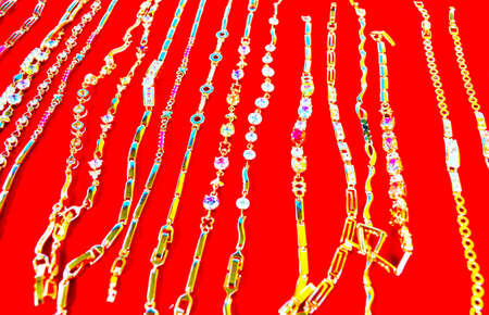 Jewellery on a red background. photo