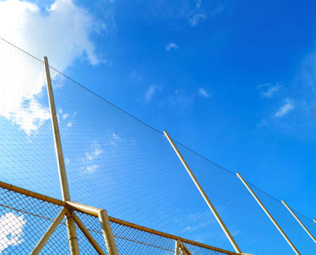 Nets of sport  in a blue sky background photo