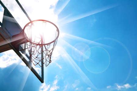 blue sky: Basketball hoop in the blue sky
