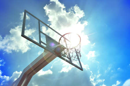 playground basketball: Basketball hoop in the blue sky