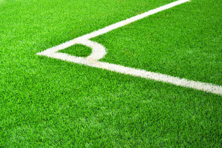 corner kick: Corner of the football field in green grass  Stock Photo