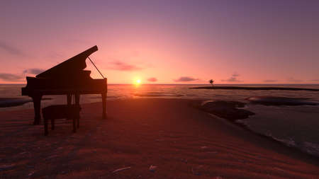 Piano on the beach in the sunset