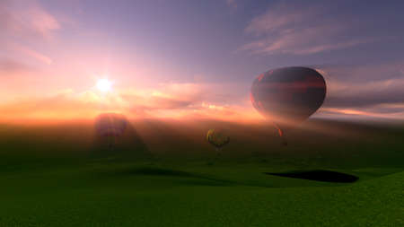 3D for hot air ballooning festival over the mountains in sunset photo