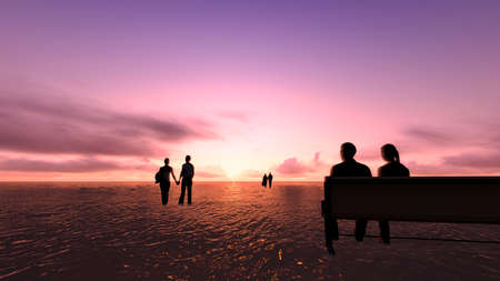 Couples in love on the sunset at sea.The young and the old. 版權商用圖片