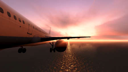 The plane was flying over the ocean on sunset Stock Photo - 23435550