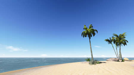 Relax on the beach with blue sky and coconuts photo