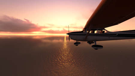 The plane was flying over the ocean on sunset Stock Photo - 23834251