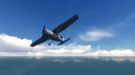 The plane was flying over the sea on blue sky Stock Photo - 23834256
