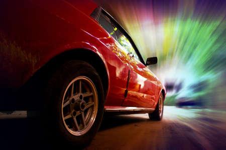 retro car is speeding in fast dynamic