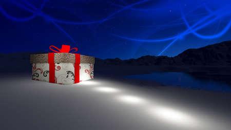 Gift box in de besneeuwde op Noordpool op eerste kerstdag