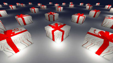 northpole: Gift box in snowy at Northpole on Christmas and new year day Stock Photo