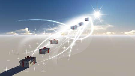 Gift box in de besneeuwde op Noordpool op Kerstmis en Nieuwjaar dag