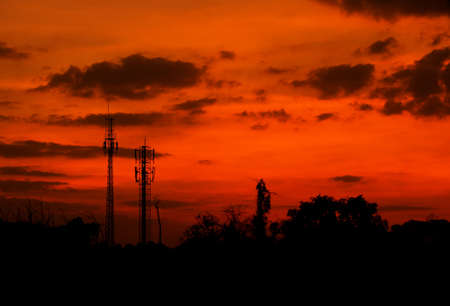 telephone poles: telephone poles on sunset with orange sky