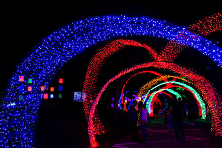 colorful of neon light in new year