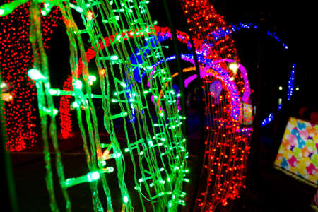 colorful of neon light in new year photo