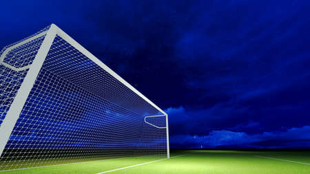 Soccer goal on the football field at night sky. photo