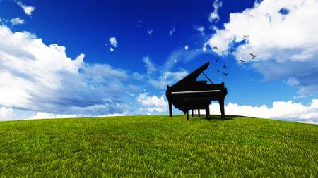 field and sky: piano en un prado con el cielo azul Foto de archivo
