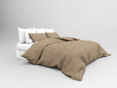 illustration of bed for bedroom on white background
