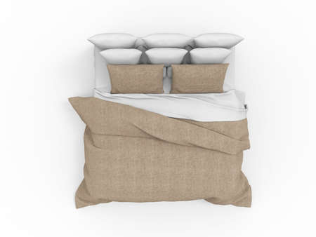 illustration of bed for bedroom on white background