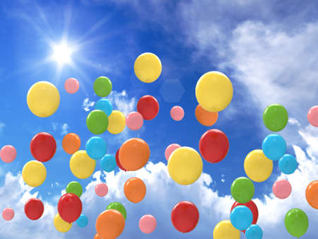 Freedom concept of balloons in the sky