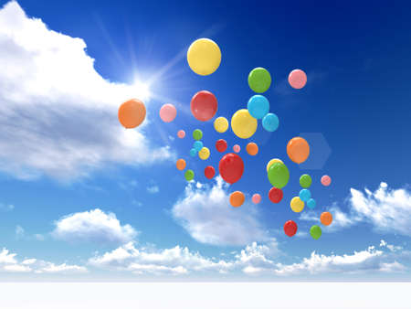 freedom concept of balloons are flying to the sky 版權商用圖片