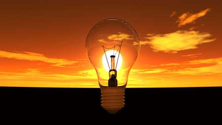 illustration of Light bulb in sunset sky illustration