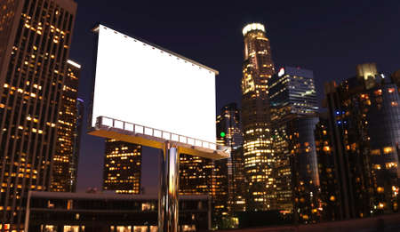 illustration of billboard in twilight with night city Stock Photo