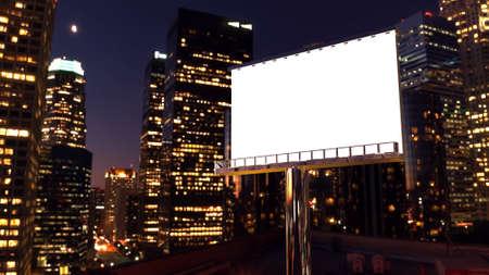 illustratie van billboard in de schemering met nacht stad