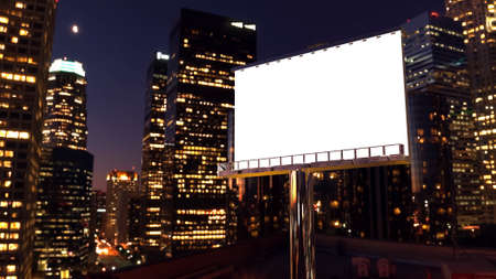 illustration of billboard in twilight with night city Фото со стока