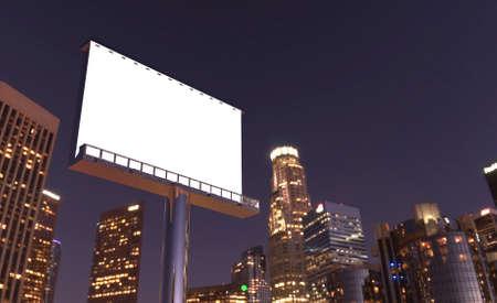 illustration de panneau d'affichage dans le crépuscule avec la ville de nuit