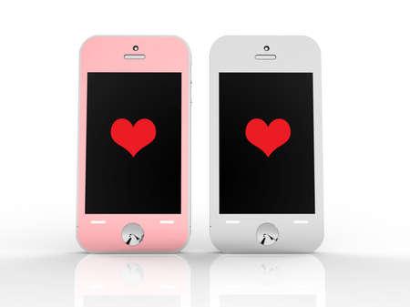 illustration love concept of Smartphones for Valentine background illustration